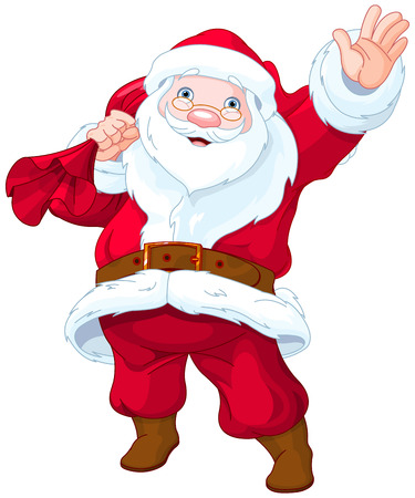Illustration of personable Santa Claus waves
