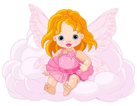 angeles bebe: Ilustración de hadas linda del bebé