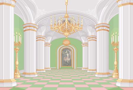 castillo medieval: Ilustración de la sala de palacio