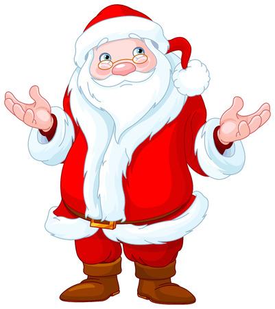 belt up: Illustration of confuse Santa Claus