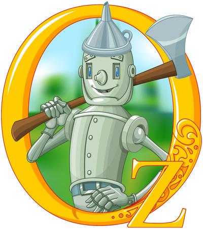 oz: Illustration if woodmen with ax. Wizard of Oz illustration