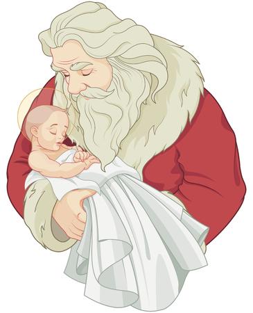 Baby Jesus en Santa Claus Stock Illustratie