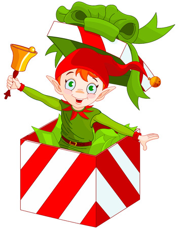 dwarf christmas: Illustration of elf popping out of a Christmas box and ringing in a bell