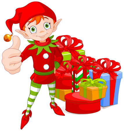 Illustration of cute Christmas elf doing a thumb up and group of colorful wrapped gift boxes with ribbons and bows