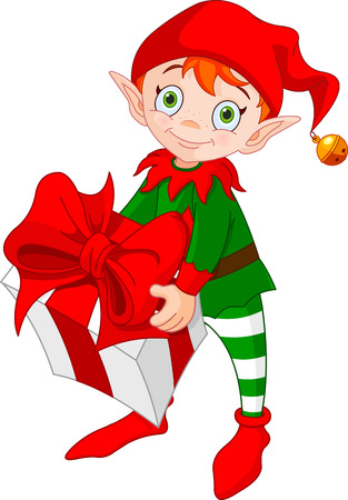 Illustration of red haired Christmas elf standing and carrying a gift