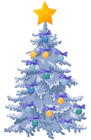 Decorated Christmas tree with a shining star, Christmas baubles and bows Illustration