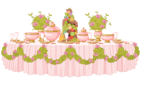 plate of food: Served dining table in princess palace Illustration