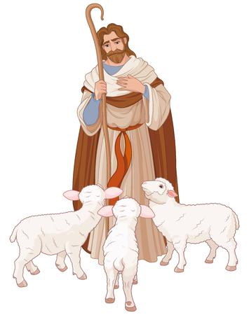 Illustration of Jesus Christ is the good shepherd Çizim