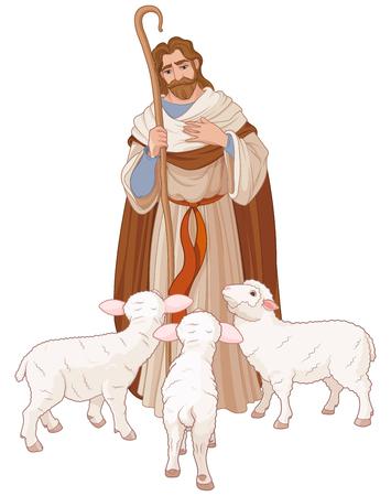 Illustration of Jesus Christ is the good shepherd Vettoriali
