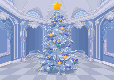 Christmas tree with a shining star on blue palace interior with candles and arches background