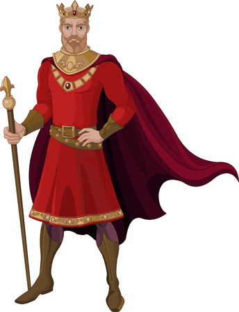 period costume: Illustration of fantasy king in red Illustration