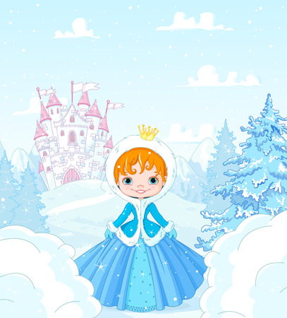 Cute little princess in the snow, standing in front of a magic castle Illusztráció