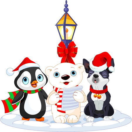 caroling: Christmas carolers. Polar bear, penguin and Boston terrier