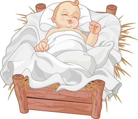 Baby Jesus asleep in a Christmas nativity crib Ilustracja