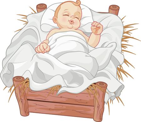 Gesù Bambino addormentato in un presepe presepe Archivio Fotografico - 66952556