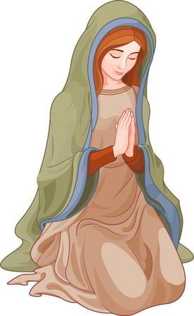 Illustration of kneeling woman praying Illustration
