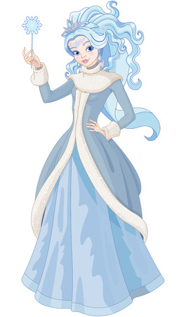 Illustration of Snow Queen holding magic wand 免版税图像 - 67335300