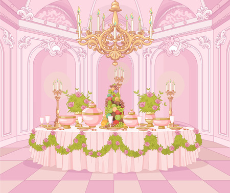 Served dining table in the dining room in princess palace Иллюстрация