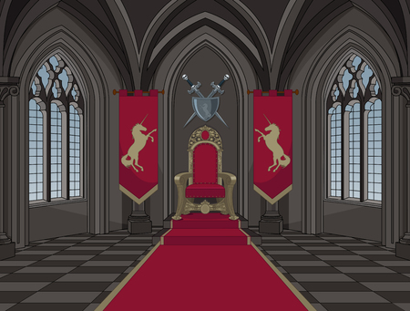 Illustration of medieval castle throne room Stock Illustratie