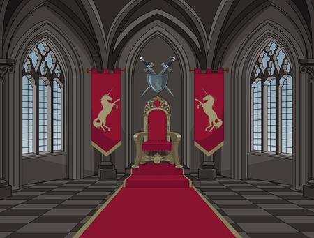 trono: Ilustración de castillo medieval sala del trono
