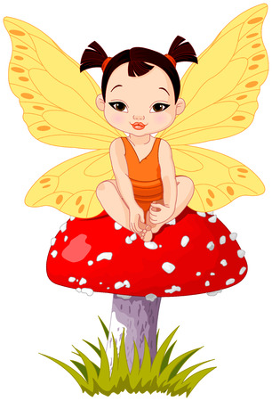 Illustration of Cute little Asian baby fairy sitting on mushroom