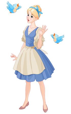 Illustrazione di Cenerentola cantare con gli uccelli