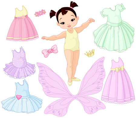 Paper baby girl doll with different fairy, ballet and princess dresses Stock Illustratie