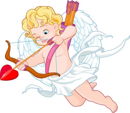 활과 화살을 누군가를 겨냥한 재미 큐피드의 발렌타인 그림 스톡 콘텐츠 - 67410010