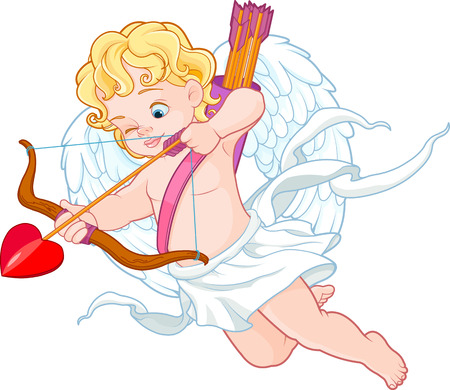 Valentijnsdag illustratie van grappige Cupido met boog en pijl gericht naar iemand Stock Illustratie