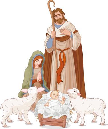 pere noel: Noël scène de la nativité avec Marie, Joseph et l'enfant Jésus