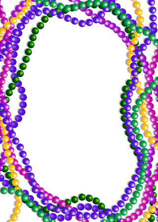 Mardi Gras colorful beads background with place for text