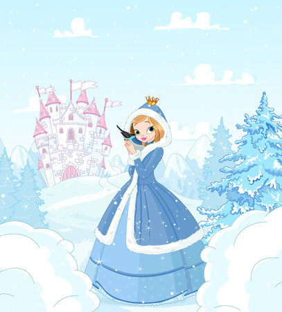 Cute princess in the snow, standing in front of a magic castle