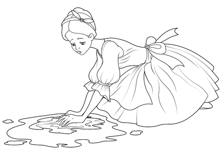 Sad Cinderella washes the floor with rag