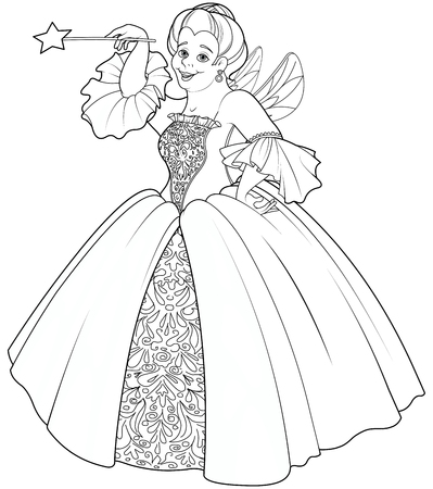 godmother: Fairy godmother making a wish coloring page