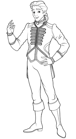 Prince Charming coloring page  イラスト・ベクター素材
