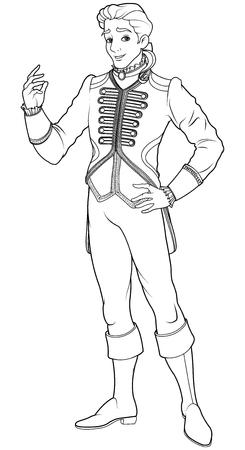 王子の着色のページ  イラスト・ベクター素材