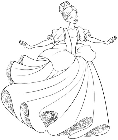 cinderella: The royal ball dance of Cinderella coloring page