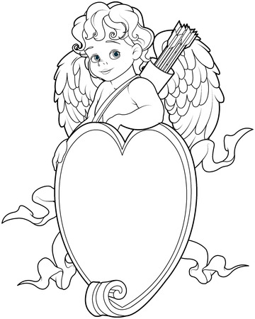desire: Coloring page of baby Cupid over a heart shape sign