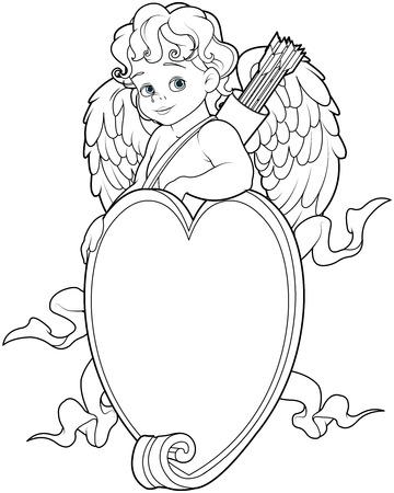 Malvorlage von Baby-Amor über einer Herzform Zeichen Standard-Bild - 69069320