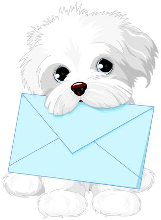 Cute fuzzy dog delivering mail envelope 일러스트