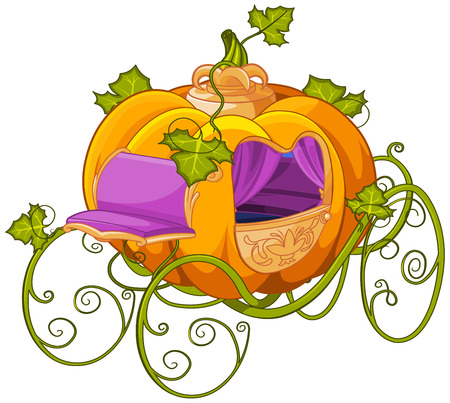 Pumpkin turn into a carriage or carriage turn into a pumpkin. Cinderella illustration