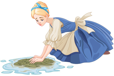 Sad Cinderella cleaning the floor with floor cloth