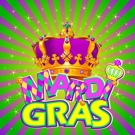 Mardi Gras crown on radial background