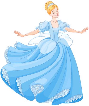Het koninklijk bal dans van Cinderella Stock Illustratie