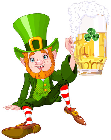 Illustration of a cute drank leprechaun
