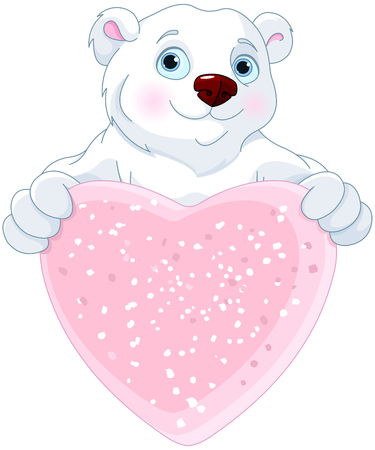 Cute Polar bear holding heart shape sign Illustration