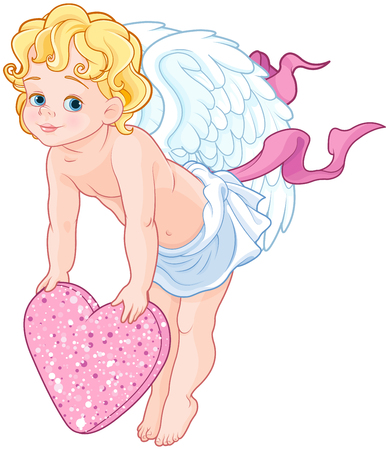 Baby Cupid holding a heart Vectores