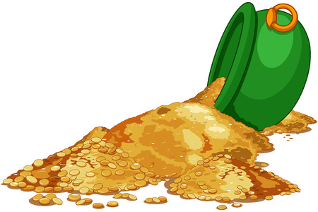 Gold poured from the Cauldron. Saint Patrick Day illustration Illustration