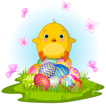 Illustration of very cute Easter chick