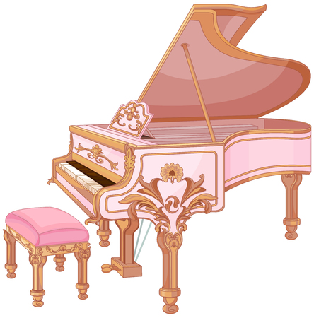 classic classical: Illustration of old fortepiano and chair for fortepiano